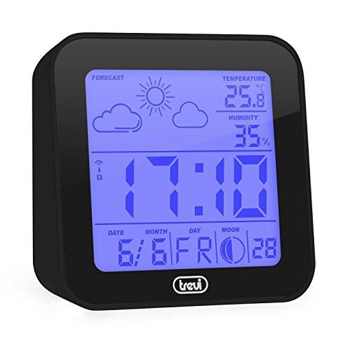 TREVI ME-3105 Stazione Metereologica (Sveglia Digitale, Previsioni Del Tempo, Indicazione Temperatura e Umiditá, Indicazione Fasi Lunari) Nera