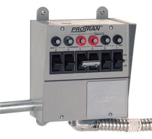 Reliance Controls 31406B 6-Circuit Transfer Switch, 125/250-Volt
