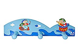 Mousehouse Gifts Blue Pirate Themed Triple Wall Hook Coat Hook for Boys Nursery Or Bedroom