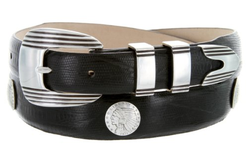 Italian Calfskin Leather Belt with Designer Buckle and Indian Head Coin Conchos (36, Lizard Black)