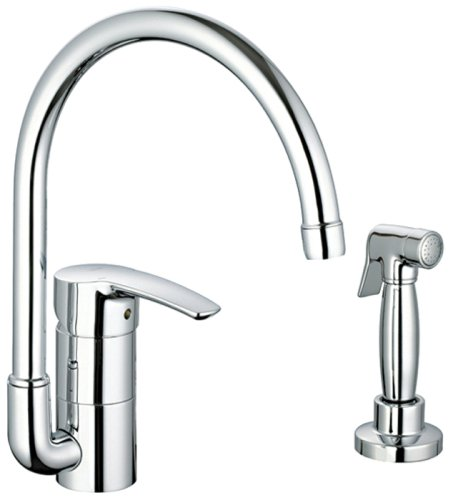 GROHE 33 980 001 Eurostyle Kitchen Faucet with Hose and Spray, Starlight Chrome
