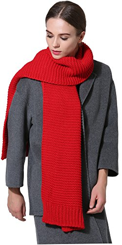 women-men-winter-thick-cable-knit-wrap-chunky-warm-scarf-all-colors-red