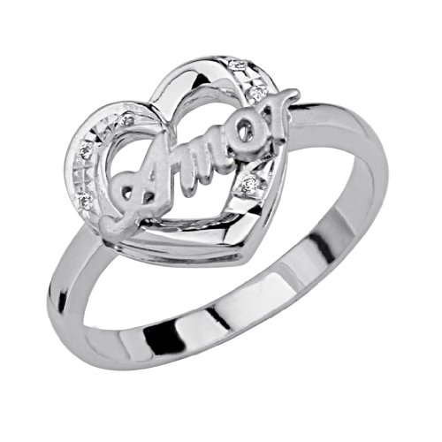 .925 Sterling Silver CZ Sweet 15 Heart Womens Ring - Size 5