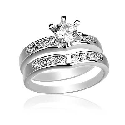 Round Cut Center Stone Swirl Prong Set CZ Wedding Ring Set - White Gold Filled CZ Wedding Rings Set by GemGem Jewelry (8)