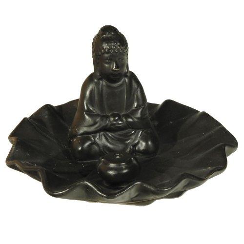 Rucherstbchenhalter-Buddha-auf-Blatt-schwarz