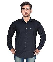 7 Buttons Men's Casual Shirt (s007_Black_X-Large)