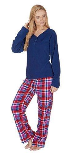Ladies In Pile Set Pigiama con semplice Top e verifica Pantaloni - Navy E Rosso, XL