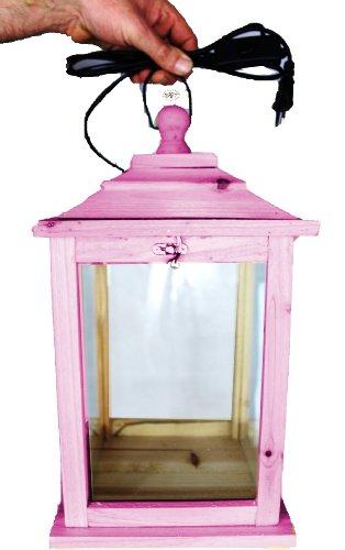 Holzlaterne, als Glasvitrine mit Beleuchtung, mit Glas und Holz - Rahmen, mit Holz - Deko KL-OFOS-PINK aus Holz rot pink rosa rosarot umweltfreundlich lasiert mit Lasur auf Wasserbasis