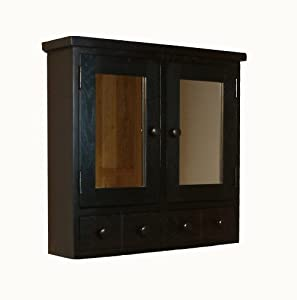 kudos dark wood large wall mounted bathroom cabinet