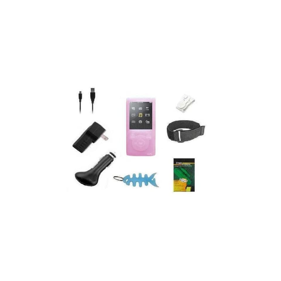 8 Items Accessory Combo Kit for Sony Walkman E Series Walkman (NWZ E353 & NWZ E354) Includes Pink Silicone Skin Case Cover, Armband, Belt Clip, LCD Screen Protector, USB Wall Charger, USB Car Charger, 2in1 USB Data Cable and Light Blue Fishbone Style Keyc