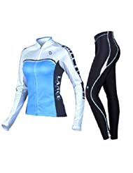 Lance Sobike Women's Cycling Jersey Set Long Sleeves-Thalia (Blue, Large)