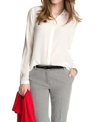 ESPRIT Collection Damen Regular Fit Bluse Hochwertige Seide 034EO1F015, Gr. 44, Weiß (OFF WHITE)