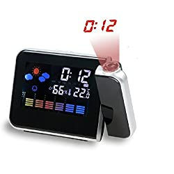 Drillpro Projection Alarm Clock Auto Time Set,Digital LED Wall Projection,Sleep Timer, Indoor Temperature/Day/Date Display with Dimming Multi-function Date Clock