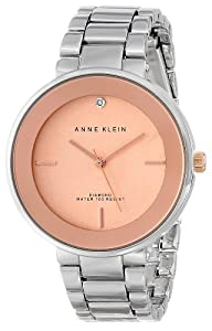 Anne Klein Women's Silver-Tone Diamond-Accented Bracelet Watch