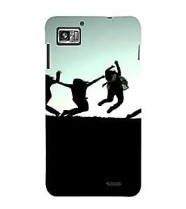 PrintVisa Fun Jump Group Silhouette Design 3D Hard Polycarbonate Designer Back Case Cover for Lenovo K860
