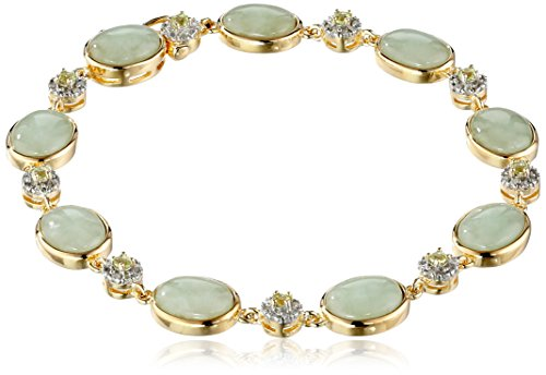 """18k Yellow Gold Over Sterling Silver Green Jade and Peridot with Diamond Accent Link Bracelet (1/4 cttw, I-J Color, I2-I3 Clarity), 7.25"""""""