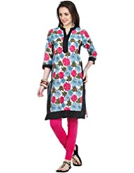 Zovi Women's Cotton Pink Floral Printed Kurti (10589619101)