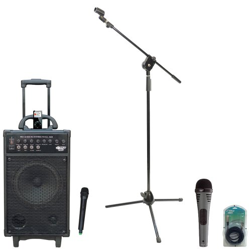 Pyle Speaker, Mic, Stand And Cable Package - Pwma860I 500W Vhf Wireless Portable Pa System /Echo W/Ipod Dock - Pdmik2 Professional Moving Coil Dynamic Handheld Microphone - Pmks3 Tripod Microphone Stand W/ Extending Boom - Ppfmxlr15 15Ft. Xlr Male To Xlr