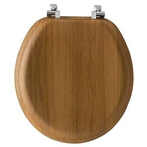 Bemis Round Toilet Seat Oak Chrome Hinges