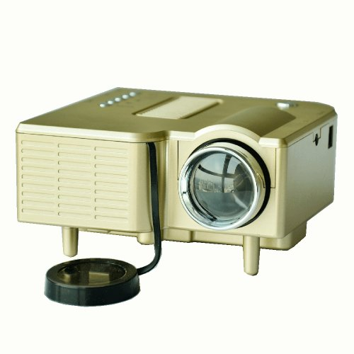 """Golden Color Supported Resolution:1920*1080 Aspect Ratio: 4:3 Hdmi Mini Hd Home Led Projector 60"""" Cinema Theater, Pc Laptop Vga Input Usb . Package Includes: Dc Adaptor , User Manual , Projector, Remote Control , 3-In-1 Av Cable."""