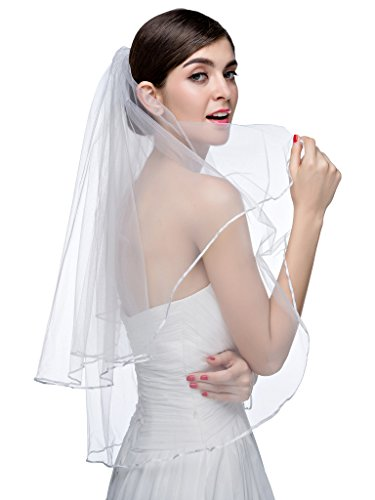 Edith qi Hot White Ivory Bridal Veils Two Layer Ribbon Edge Wedding Veil with Comb
