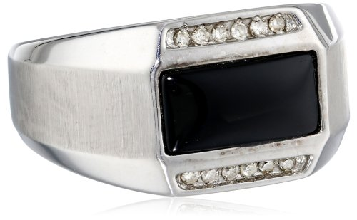 Men's Sterling Silver Onyx and Diamond (0.13cttw, J-K Color, I2-I3 Clarity) Ring, Size 10