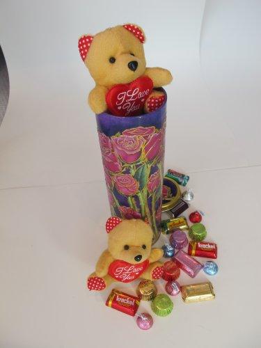 Easter Rose Tin  Tan Plush Teddy Bear  I Love