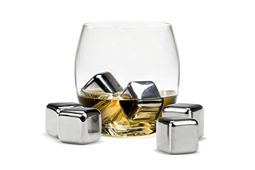Acuvar Set of 6 Stainless Steel Reusable Ice Cube Stones ith Plastic Storage Box for Whiskey, Wine, Scotch, Soda