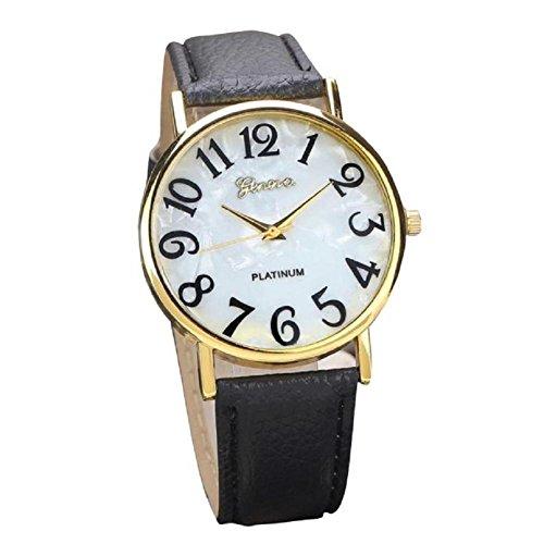 donne retrò orologio, FEITONG orologio digitali quadrante in pelle banda quarzo orologi analogici da polso (Nero)