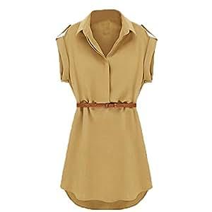 Pinup Mini-robe à manches courtes avec ceinture Beige Beige UK_10