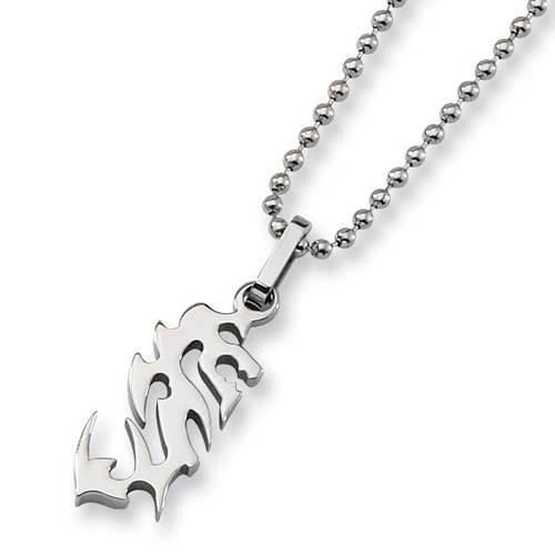 Chisel Polished Stainless Steel Tribal Design Pendant on 22 Inch Bead Chain