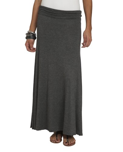 Wet Seal Women's Solid Foldover Maxi Skirt S Charcoal Heather