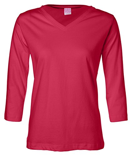 La T Ladies' V-Neck 3/4-Sleeve T-Shirt - Red - Xl