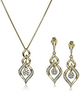 Yellow Plating Over Sterling Silver with White Diamond-Accent Box Jewelry Set (1/10 cttw)