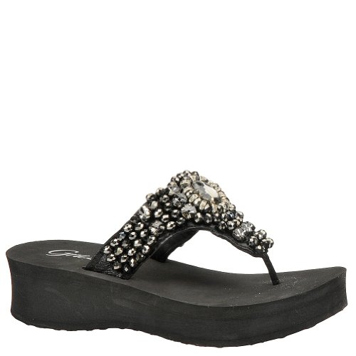 Grazie Women'S Truffle Flip Flop,Black/Smoke,6.5 B Us back-552337