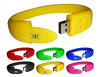WRISTBAND USB FLASH MEMORY STICK PEN DRIVE 4GB - Comes in a variety of colours - FANTASTIC PRESENT by DJC Electronics