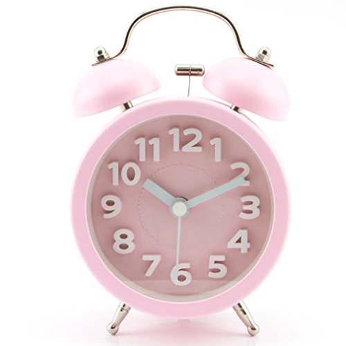 PiLife Morning Clock Silent Quiet Non-ticking Retro Vintage Classic Bedside Twin Bell Alarm Clock with Backlight, Battery Operated Travel Clock - Loud Alarm Clock(3D Pink)