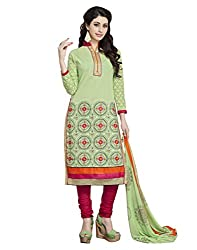 Modern lifestyle Embroidery work Festive Wear Cotton Green Un Stitched Branded Salwar Suit Dress Material for women girls ladies From Lookslady