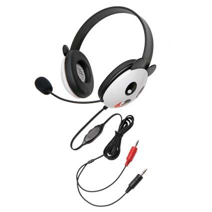 Children'S Listening First Stereo Headset With Dual 3.5Mm Plugs And Microphone Panda Design