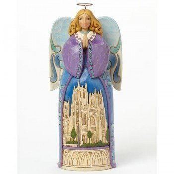 Jim Shore for Enesco Heartwood Creek Angel with Cathedral Church Scene Figurine, 9.25-Inch