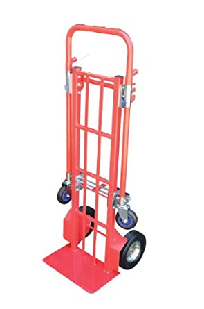 "Vestil CSHT-500 Steel Convertible Hand Truck with Dual Handle, Rigid Pneumatic Wheels,330 lbs Load Capacity, 57-3/4"" Height, 19-1/2"" Width X 20"" Depth"