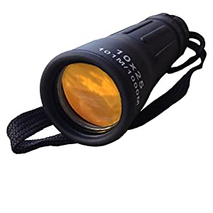 Zoom In! 10X25 Monocular - Handheld - Compact - Waterproof - Lightweight - 10X Mini Telescope - Adjustable - Coated Lens To Reduce Glare - Durable Rubber Coated Metal Body - Best Pocket Monoculars For The Casual User! from Huggabe Casual Adventure Gear