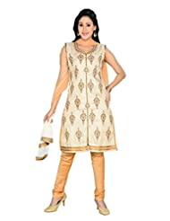 Ritu Creation Women's New Silk Self Print Stitched Chudidar Suit With Embroided Work(Beige)