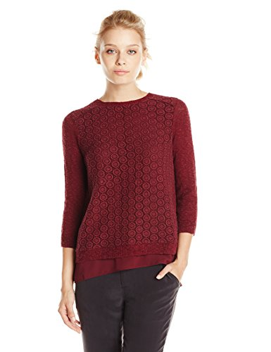 Lucky Brand Women's Mixed Media Pullover Luxe Burgundy Sweater XS (US 0-2)