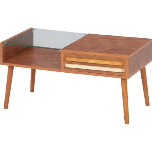 リビングテーブル「オスロ-HH-8040PG-」【IT】ミドルブラウン(#9881598-10034)サイズ:幅80×奥行43×高さ42cm【リビング テーブル ローテーブル ガラステーブル センターテーブル おしゃれ 机 木製】
