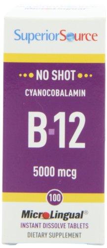Superior Source No Shot Vitamin B12 Tablets, 5000 Mcg, 100 Count