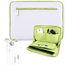 """buy Vangoddy Irista Sleeve City Pro Pu Faux Leather Pouch Cover Snow White & Garden Green Fits Toshiba Excite 10.1"""" Android Touch Tablets Pro - Pure - Write - 10 Se + White Hands-Free Earphones Headphones With Microphone"""