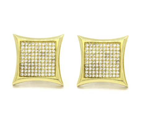 Mens 18Mm Gold Plated Cz Micro Pave Iced Out Hip Hop Large Kite Stud Earrings Screw Backs