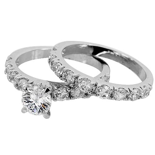 CZ Engagement Ring-Round Cut CZ Center Stone Wedding Ring Set In White Gold Filled by GemGem Jewelry (7)