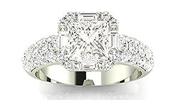 1.55 Carat GIA Certified Princess Cut 14K White Gold Designer Popular Halo Style Baguette And Pave Set Round Diamond Engagement Ring (D-E Color VVS1-VVS2 Clarity) from Houston Diamond District